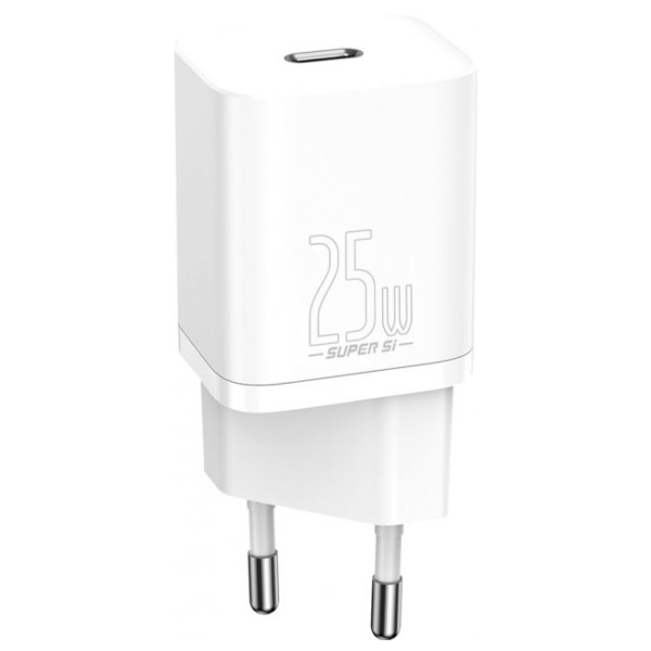 CЗУ Baseus Super Silicone PD Charger 25W (1Type-C) + with Cable Type-C to Type-C 3AWhite